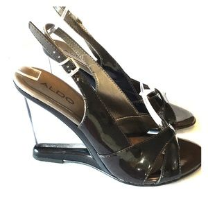 Aldo clear heel sling back sandal